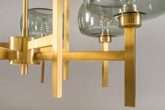 Holger Johansson Five Swedish Chandeliers in Brass and Glass by Holger Johansson - 898669