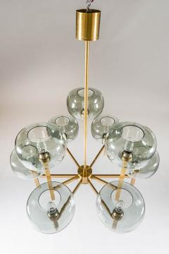 Holger Johansson Five Swedish Chandeliers in Brass and Glass by Holger Johansson - 898671