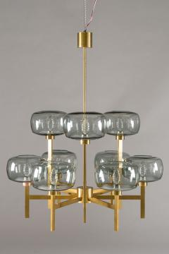 Holger Johansson Five Swedish Chandeliers in Brass and Glass by Holger Johansson - 898676
