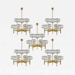 Holger Johansson Five Swedish Chandeliers in Brass and Glass by Holger Johansson - 901552