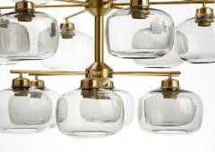 Holger Johansson Holger Johansson Chandelier with 24 Smoked Glass Shades Sweden 1952 - 729241