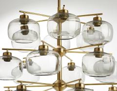 Holger Johansson Holger Johansson Chandelier with 24 Smoked Glass Shades Sweden 1952 - 729242