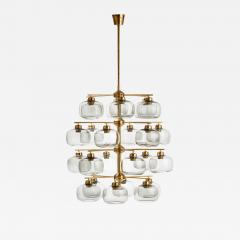 Holger Johansson Holger Johansson Chandelier with 24 Smoked Glass Shades Sweden 1952 - 729308