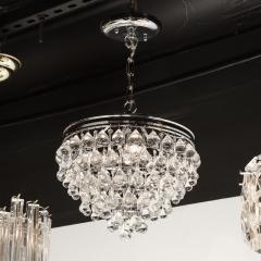Hollywood Regency Crystal Graduated Teardrop Chandelier with Chrome Fittings - 1950032