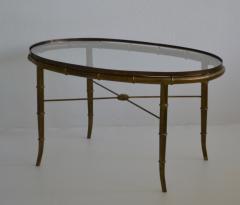 Hollywood Regency Italian Brass Faux Bamboo Table - 1078345