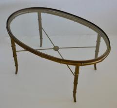 Hollywood Regency Italian Brass Faux Bamboo Table - 1078346
