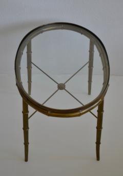 Hollywood Regency Italian Brass Faux Bamboo Table - 1078347