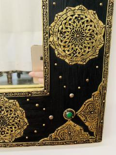Hollywood Regency Moroccan Mirror with Filigree Brass Inlay on Ebony a Pair - 1601544