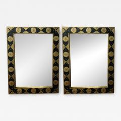 Hollywood Regency Moroccan Mirror with Filigree Brass Inlay on Ebony a Pair - 1605245