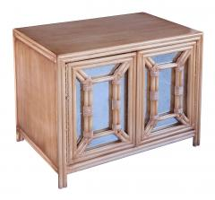 Hollywood Regency Painted Faux Bamboo and Mirrored 2 door Cabinets - 2130980