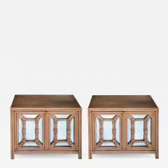 Hollywood Regency Painted Faux Bamboo and Mirrored 2 door Cabinets - 2131777