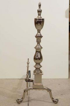 Hollywood Regency Polished Nickel Andirons - 1712255
