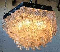 Honeycomb 1960s Italian Chrome and Glass Chandelier - 925374