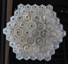 Honeycomb 1960s Italian Chrome and Glass Chandelier - 925375
