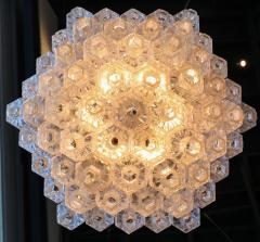 Honeycomb 1960s Italian Chrome and Glass Chandelier - 925376