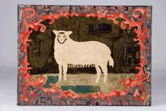 Hooked Rug of a Sheep - 134093