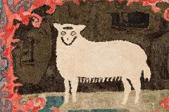 Hooked Rug of a Sheep - 134094