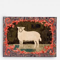 Hooked Rug of a Sheep - 134126