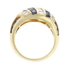 Horizontally and Vertically Invisibly Set Sapphire and Diamond Ring 18K Yellow - 1795446
