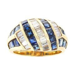 Horizontally and Vertically Invisibly Set Sapphire and Diamond Ring 18K Yellow - 1795447