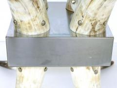 Horn Stainless Steel and Glass Center Table - 1240355