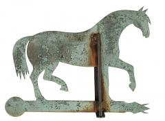 Horse Weathervane Made of Sheet Bronze with Iron Fittings - 594110