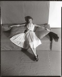 Horst p Horst White Dress on Striped Sofa II 1951
