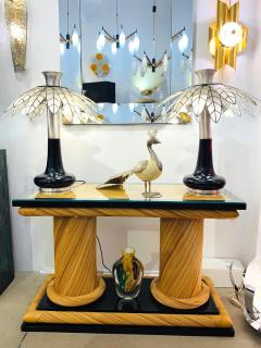 Howard Dilday 1970s Howard Dilday Organic Rattan Console Table with Black Lacquer Border - 1660383