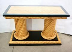 Howard Dilday 1970s Howard Dilday Organic Rattan Console Table with Black Lacquer Border - 1660384