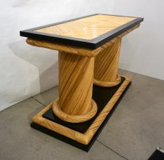 Howard Dilday 1970s Howard Dilday Organic Rattan Console Table with Black Lacquer Border - 1660394