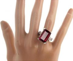 Huge 14 Carat Pinky Red Tourmaline Sterling Silver Ring - 1866566