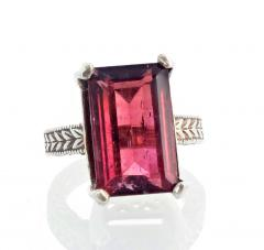 Huge 14 Carat Pinky Red Tourmaline Sterling Silver Ring - 1866567