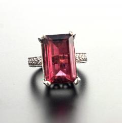 Huge 14 Carat Pinky Red Tourmaline Sterling Silver Ring - 1866568