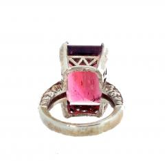 Huge 14 Carat Pinky Red Tourmaline Sterling Silver Ring - 1866569