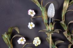 Huge Italian Tole Leaves Wall Light with Colorful Porcelain Flowers 1970 - 1561812