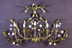 Huge Italian Tole Leaves Wall Light with Colorful Porcelain Flowers 1970 - 1561815