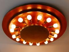 Huge Mid Century Modern Copper Brass Flush Mount or Wall Lamp Germany 1960s - 2066932
