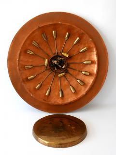 Huge Mid Century Modern Copper Brass Flush Mount or Wall Lamp Germany 1960s - 2066935