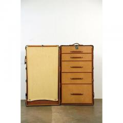 Huge Monogrammed Leather and Toile Steamer Trunk - 1080783
