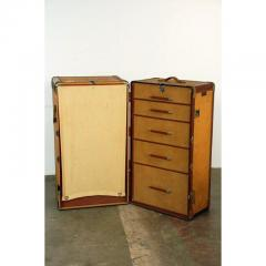 Huge Monogrammed Leather and Toile Steamer Trunk - 1080784