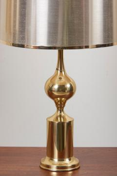 Huge Pair of Hollywood Regency Design Table Lamps in Brass with Metallic Shade - 1156455