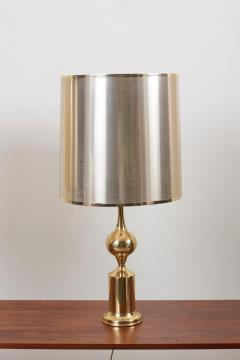 Huge Pair of Hollywood Regency Design Table Lamps in Brass with Metallic Shade - 1156456