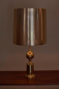 Huge Pair of Hollywood Regency Design Table Lamps in Brass with Metallic Shade - 1156459