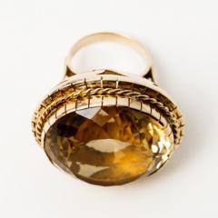 Huge Retro 99Ct Citrine Ring 1950s 14k Gold - 150388