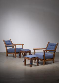 Hugo Gorge Pair of Hugo Gorge Bully chairs with matching ottomans - 1896323