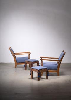 Hugo Gorge Pair of Hugo Gorge Bully chairs with matching ottomans - 1896325