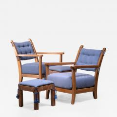 Hugo Gorge Pair of Hugo Gorge Bully chairs with matching ottomans - 1898608