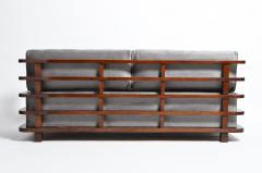 Hungarian Art Deco Solid Walnut Wood Sofa - 1194083