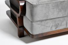 Hungarian Art Deco Solid Walnut Wood Sofa - 1194085