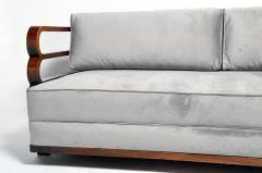 Hungarian Art Deco Solid Walnut Wood Sofa - 1194089